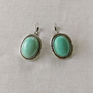 Turquoise Crackle Ceramic Oval Concho Earrings